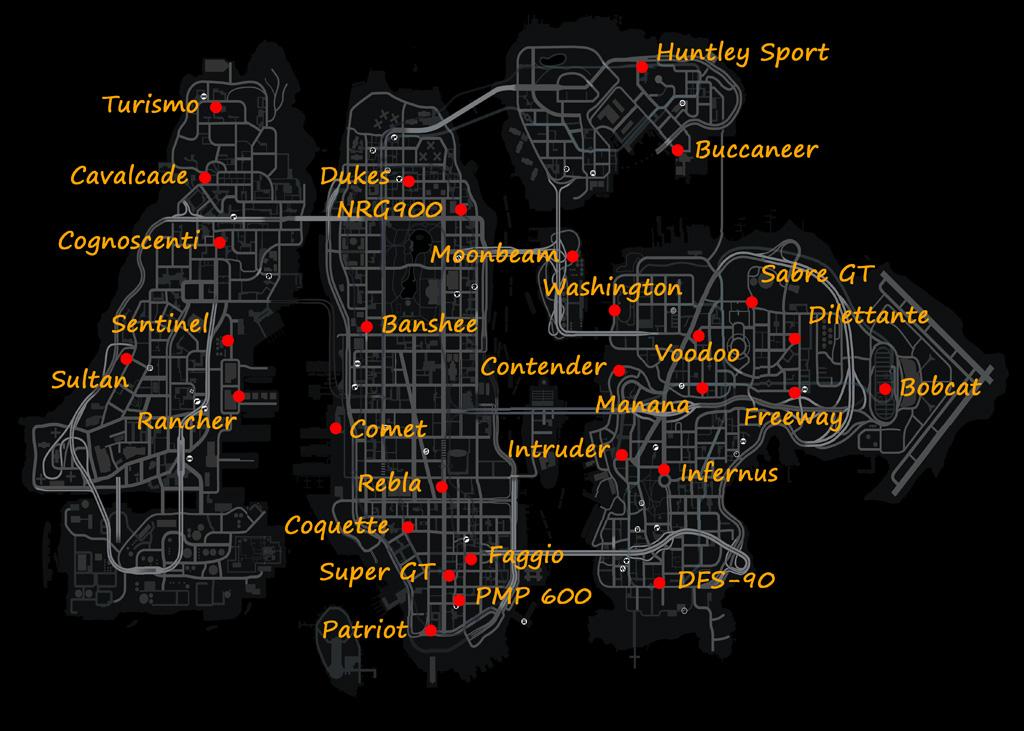 Гта 5 карта где находится машина